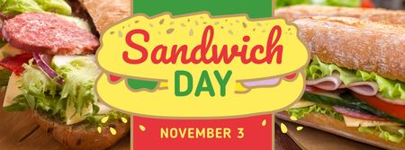 Plantilla de diseño de Sandwich Day with Tempting sandwich on a plate Facebook cover