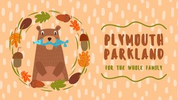Park Invitation Bear with Fish in Autumn Frame | Full Hd Video Template