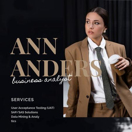 Plantilla de diseño de Business Analyst Services Ad with Woman in Suit in Brown Animated Post