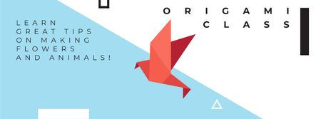 Origami class Invitation Facebook cover Modelo de Design