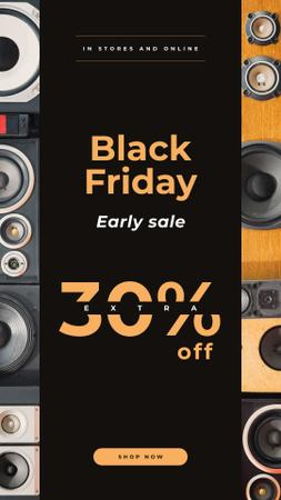 Plantilla de diseño de Black Friday Sale with Black large speakers Instagram Story