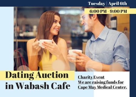 Ontwerpsjabloon van Card van Dating Auction Announcement with Couple in Cafe