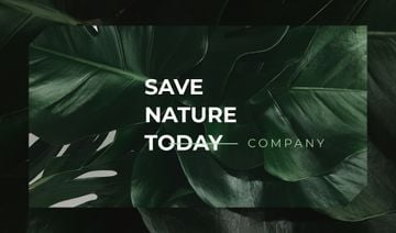 Eco Company Green Plant Leaves | Business Card Template