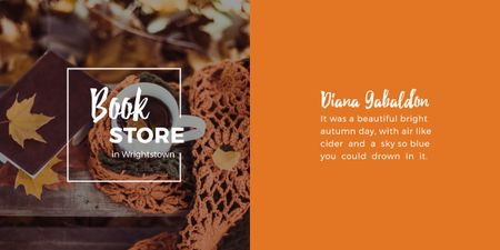 Bookstore advertisement banner with quote Image Design Template