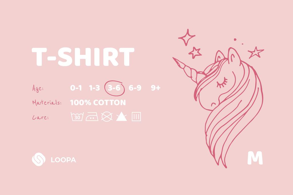 Kids Clothes care instructions with Unicorn — Crear un diseño