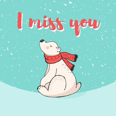 Plantilla de diseño de Polar Bear Sitting Under Snow Animated Post