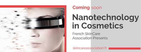 Nanotechnology in Cosmetics with Woman in Modern Glasses Facebook cover Modelo de Design