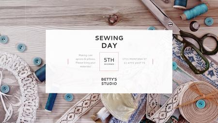 Sewing day event with needlework tools FB event cover – шаблон для дизайна