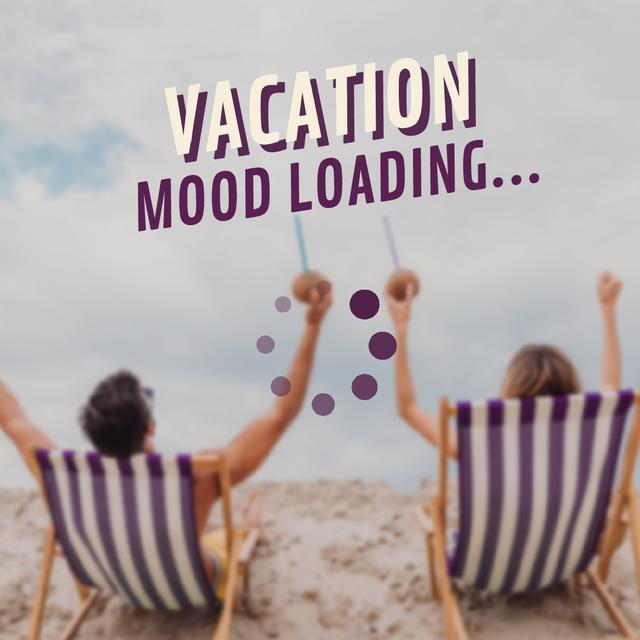 Ontwerpsjabloon van Animated Post van Travel Tour Ad with Couple in Chaise Lounge at the Beach