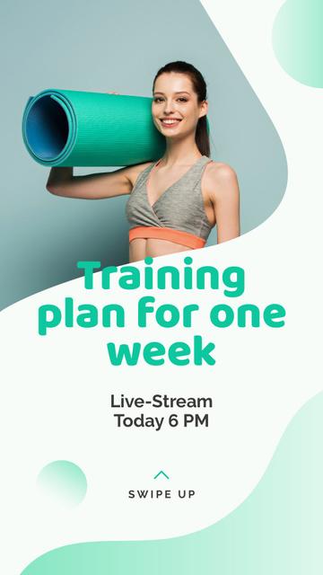Ontwerpsjabloon van Instagram Story van Live Stream about Yoga training plan
