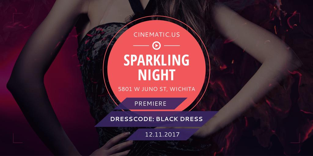 Night Party Invitation with Woman in Glamorous Outfit — Créer un visuel