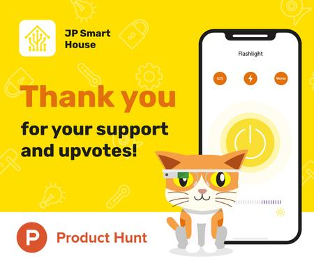 Plantilla de diseño de Product Hunt Promotion App Interface on Screen Facebook