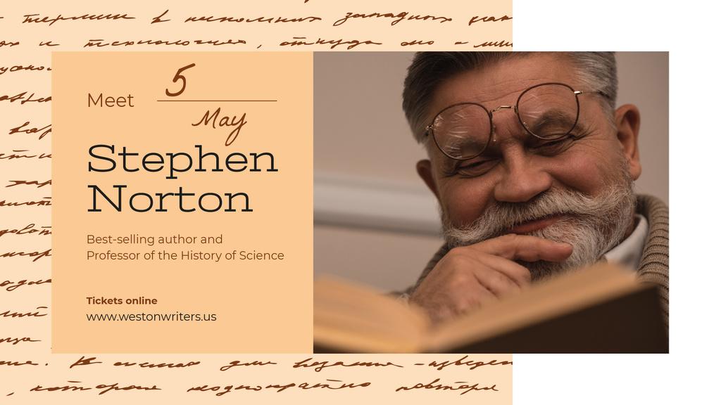 Reading Event announcement Senior Man with Book — Crear un diseño