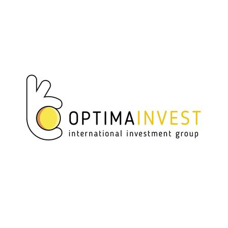 Investment Company Ad with Hand holding Coin Logo Tasarım Şablonu