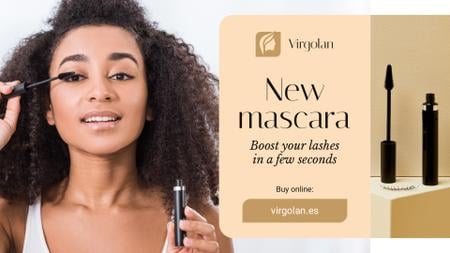 Ontwerpsjabloon van FB event cover van Cosmetics Ad Woman Applying Mascara