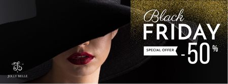 Black friday special offer with Woman in stylish hat Facebook cover – шаблон для дизайну