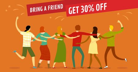 Discount Offer with Dancing Friends Facebook AD Modelo de Design