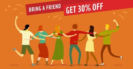 Discount Offer with Dancing Friends Facebook AD Design Template