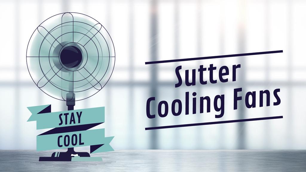 Cooling Fan Ad in Blue — Modelo de projeto