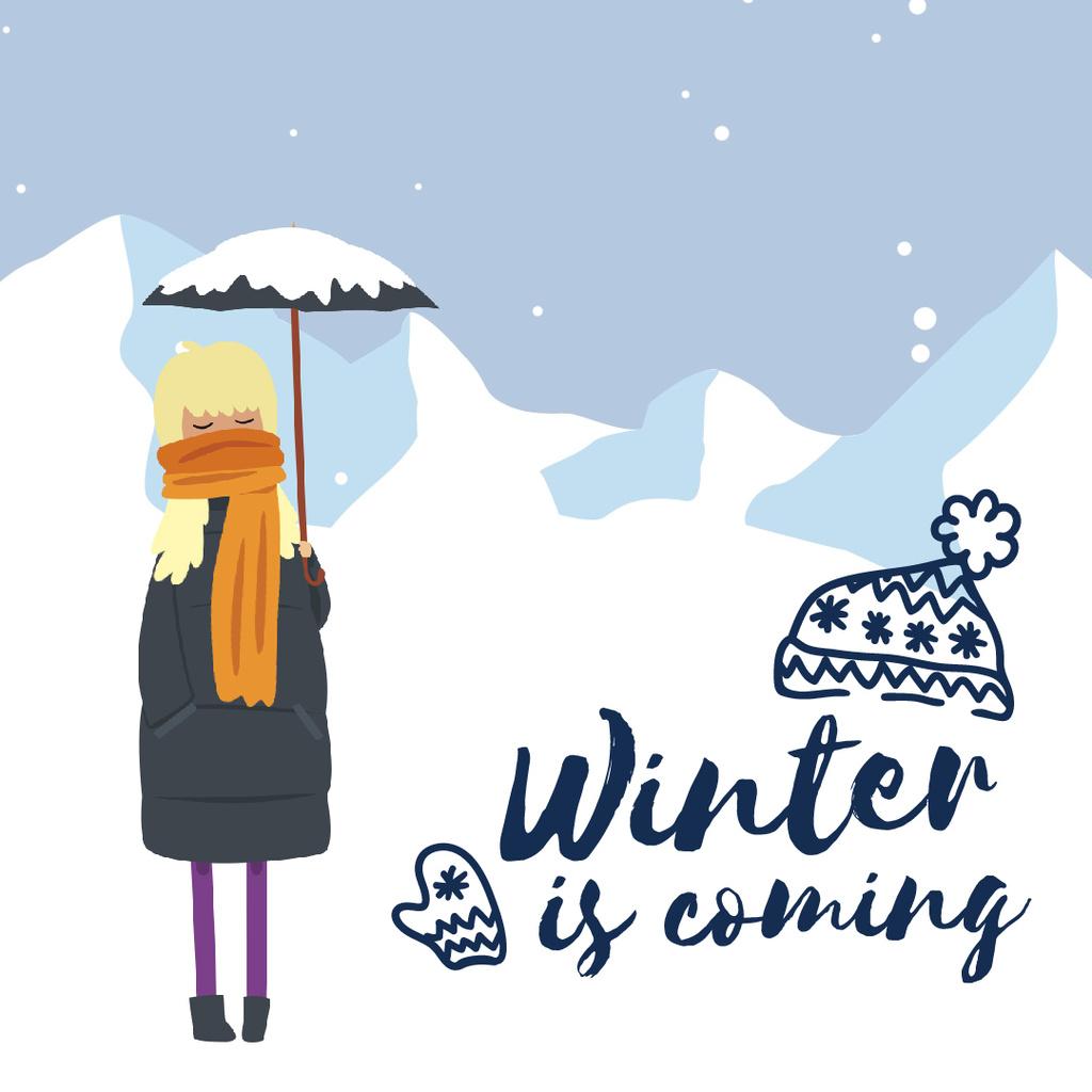 Girl With Umbrella in Snowy Mountains — Crea un design