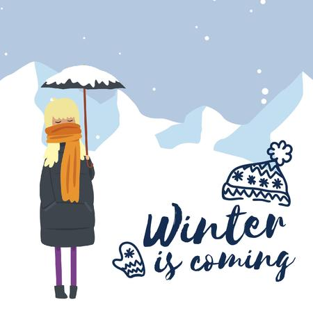 Girl With Umbrella in Snowy Mountains Animated Postデザインテンプレート