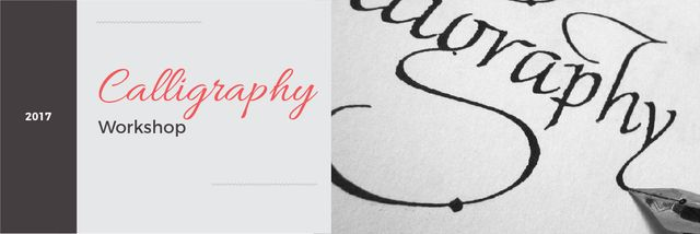 Calligraphy workshop Annoucement Email headerデザインテンプレート
