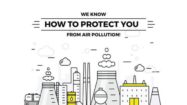 Air pollution concept with working Factory Title Tasarım Şablonu