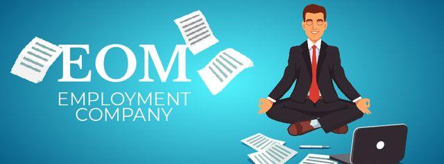Ontwerpsjabloon van Facebook Video cover van Man meditating at work