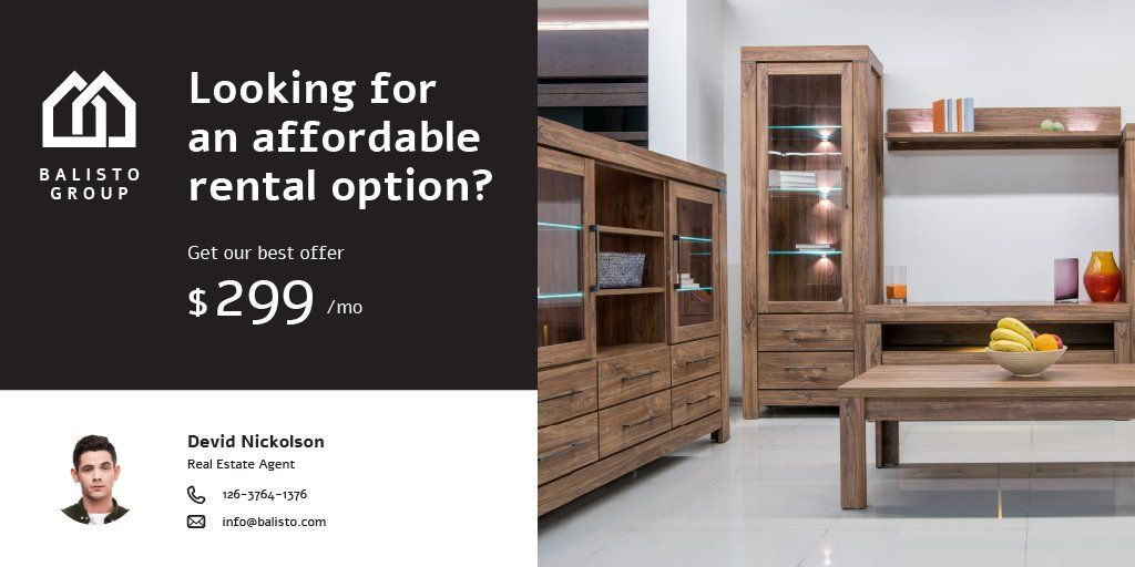 Real Estate Ad with Room Interior with Wooden Furniture Twitter – шаблон для дизайну