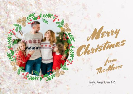 Designvorlage Merry Christmas Greeting Family by Fir Tree für Card