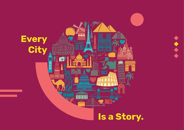 Designvorlage Famous cities attractions für Postcard