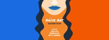 Exhibition Announcement Simple Drawing of Woman | Facebook Video Cover Template