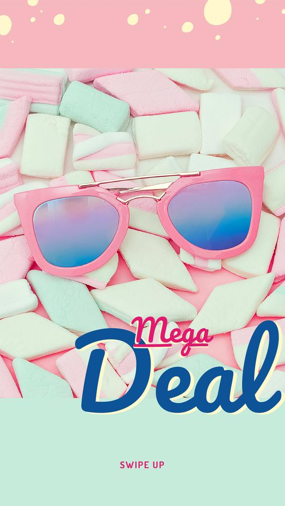 Template di design Stylish pink Sunglasses on marshmallows Instagram Story