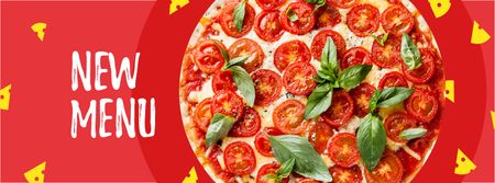 Delicious Italian pizza menu Facebook cover Modelo de Design