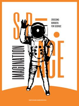Space Theme Poster with Astronaut Sketch in Orange Color
