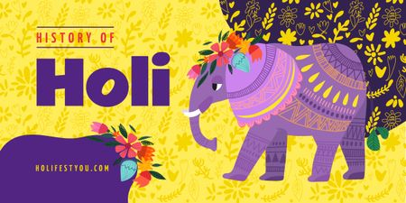 Elephant at Holi celebration Image Design Template