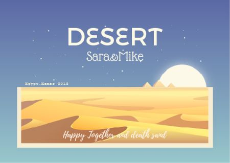 Designvorlage Desert illustration with Sandy Mounds für Postcard