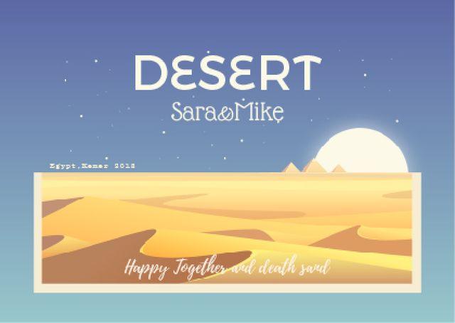 Designvorlage Desert illustration with Sandy Mounds für Postcard