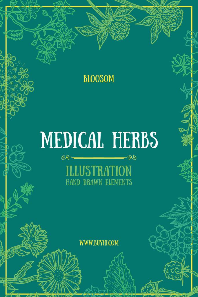 Medical Herbs Illustration with Frame in Green — ein Design erstellen