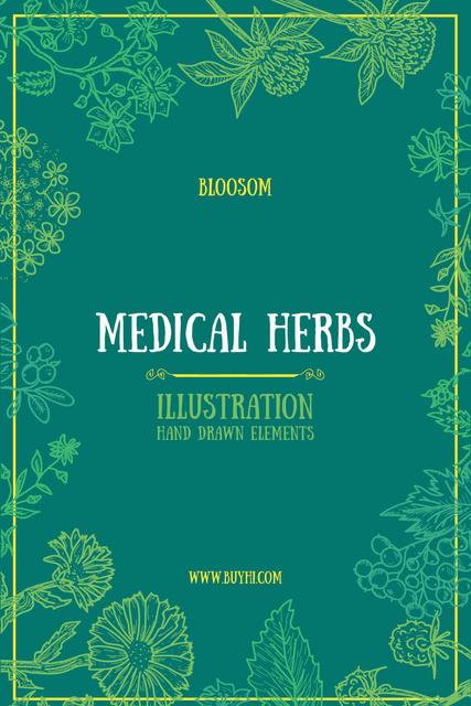 Medical Herbs Illustration with Frame in Green Tumblr Modelo de Design