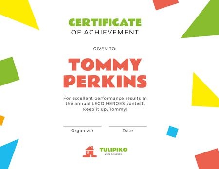 Kids Creative Contest Achievement Certificate Design Template