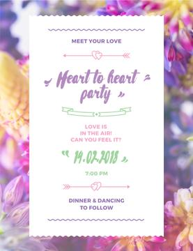Party Invitation Purple Flowers | Poster Template