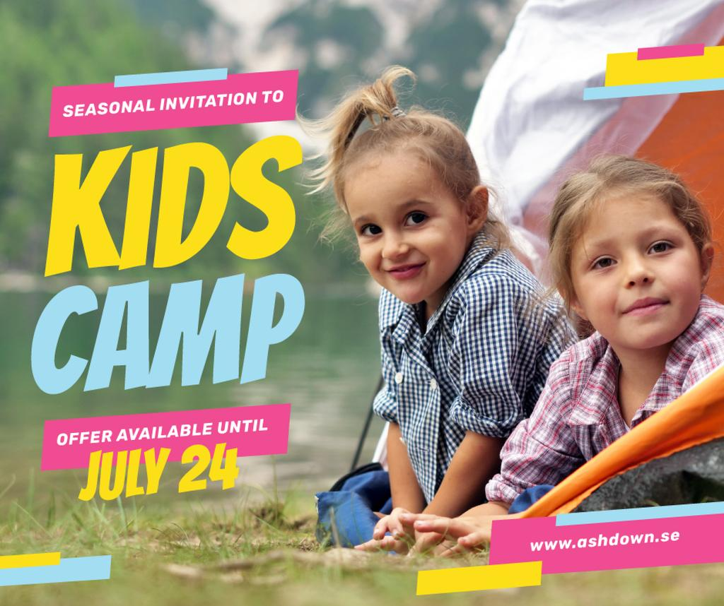 Happy Girls at Kids Camp   Facebook Post Template — Crea un design