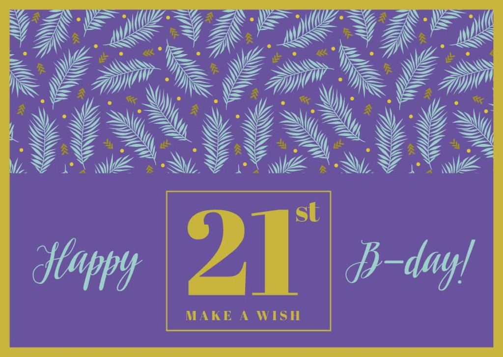 Happy Birthday Greeting Leaves in Purple — ein Design erstellen