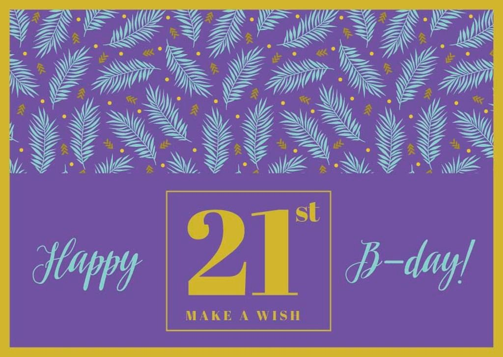 Happy Birthday Greeting Leaves in Purple | Postcard Template — ein Design erstellen