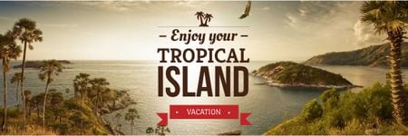 Ontwerpsjabloon van Email header van Tropical island vacation Ad