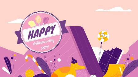 Plantilla de diseño de Happy kid on a slide Full HD video