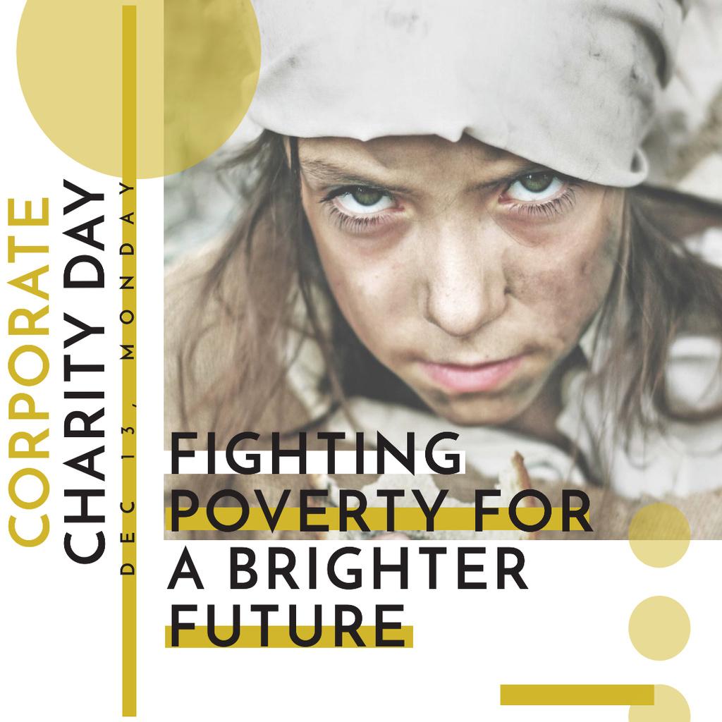 Plantilla de diseño de Poverty quote with child on Corporate Charity Day Instagram AD