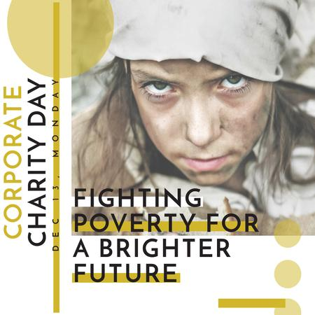 Poverty quote with child on Corporate Charity Day Instagram AD Design Template
