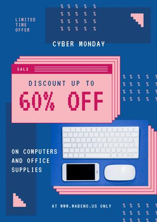 Ontwerpsjabloon van Poster van Cyber Monday Sale with Keyboard and Gadgets in Blue
